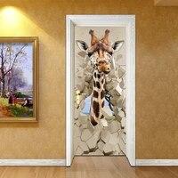 pvc waterproof self adhesive stickers pvc 3d photo wallpaper cartoon giraffe creative poster door mural wallpaper kids bedroom