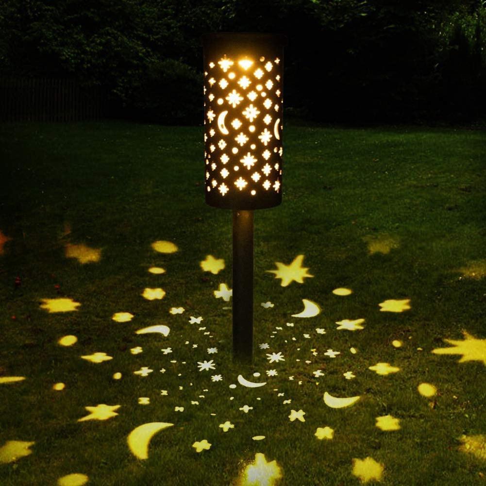 Star Moon Solar Lamp LED Iron Art Lantern Light Outdoor Decorative Lighting Hanging Lamp for Garden Yard Pathway Solar Light