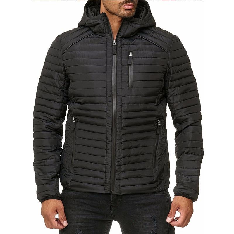 Мужская однотонная модная куртка на молнии, мужская хлопковая куртка с капюшоном, зимняя мужская куртка, Мужская одежда