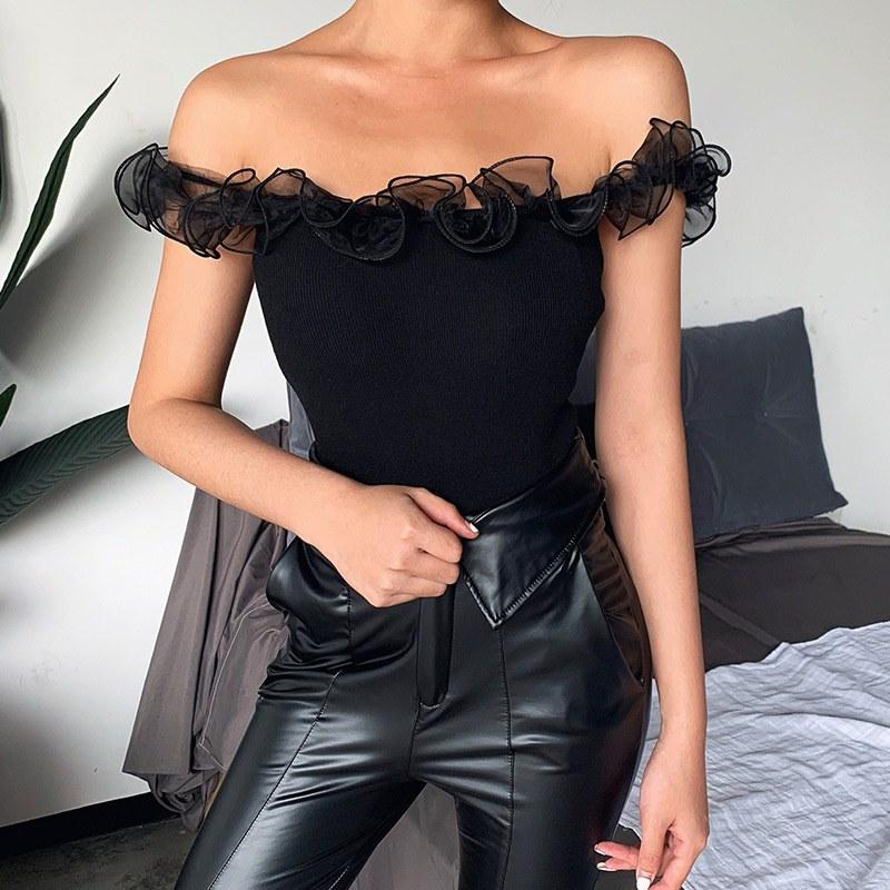 2020 t-shirt femmes sexy mince minceur camisole été couleur unie sauvage couverture en dentelle femmes 2020 camisetas mujer *