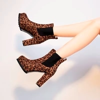 ladies suede leopard print short boots nude boots high heels womens shoes casual fashion plus size shoes winter new style