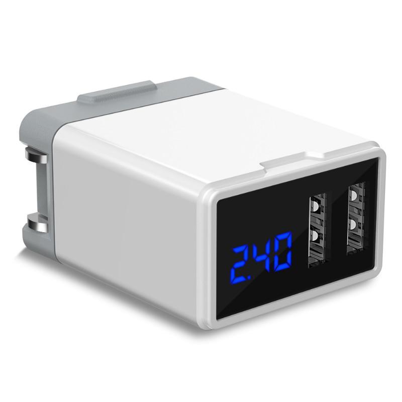 AAY-Foldable Plug 5V/2.4A Dual Port Usb Power Adapter With Digital Display Hsj-19