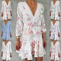 2021 spring vintage v neck tassel party dress women elegant floral print 34 sleeve mini dress ladies summer casual dress