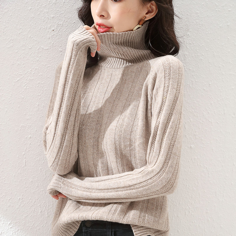 Women's pullover winter 2021 new 100% wool sweater casual high-neck knitted sweater plus size solid color cashmere top enlarge