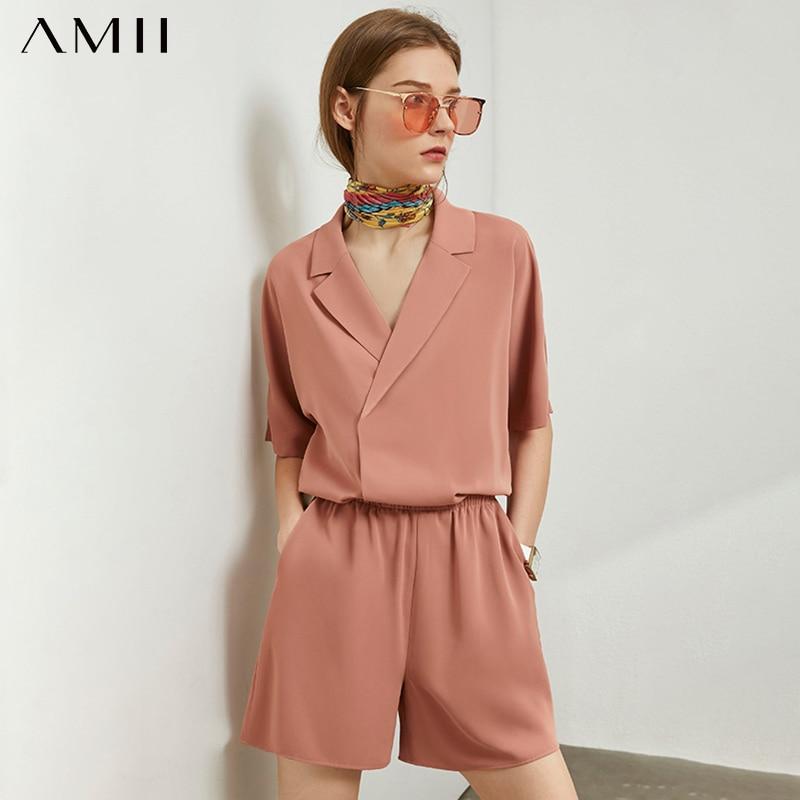 AMII Minimalism Spring Summer Causal 2pcs Set Solid Lapel Loose Women Blouse Elastic Waist Short Female Suit 12020176