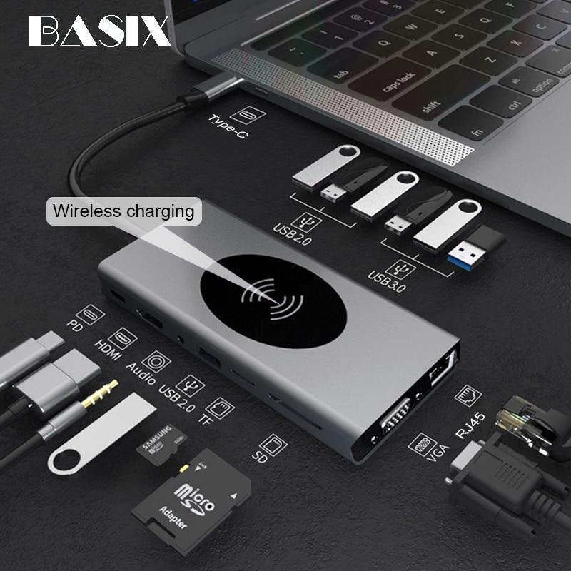 USB C HUB Type C إلى USB 3.0 HUB HDMI-متوافق مع ماك بوك برو هواوي ماتي 30 USB-C الفاصل نوع C HUB شاحن الهاتف اللاسلكي