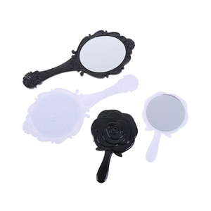 1PCS Handhold Makeup Mirror Black/White Round Cosmetic Hand Held Mirror epousse Floral Oval With Handle For Ladies