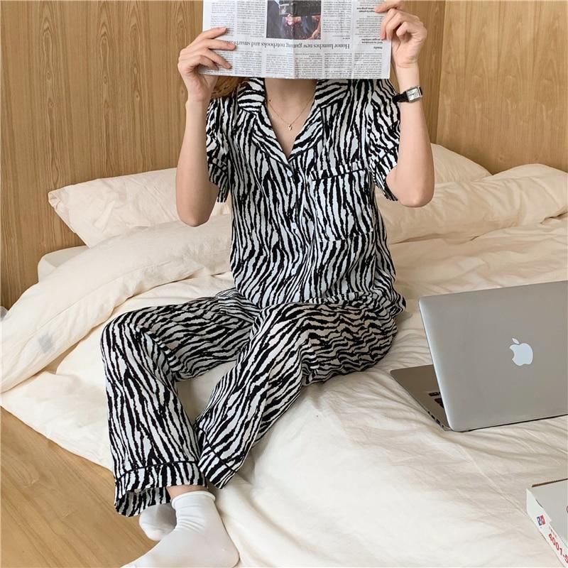 zebra print summer pajamas set women sleepwear short sleeve top pants 2 piece set homewear loungewear pijamas home suit недорого