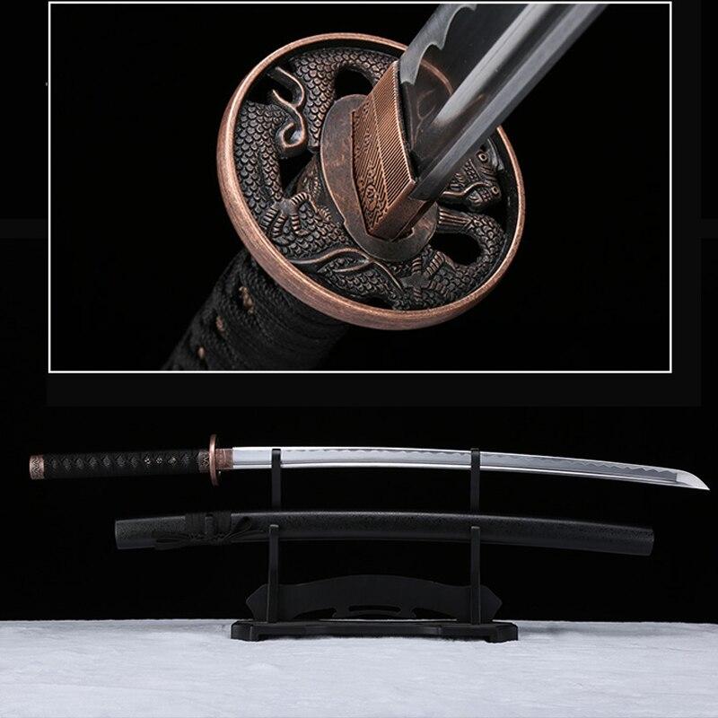 كاتانا-سيف تنين أسود مصنوع يدويًا ، سيف ساموراي حقيقي ، فولاذ كربوني 1045