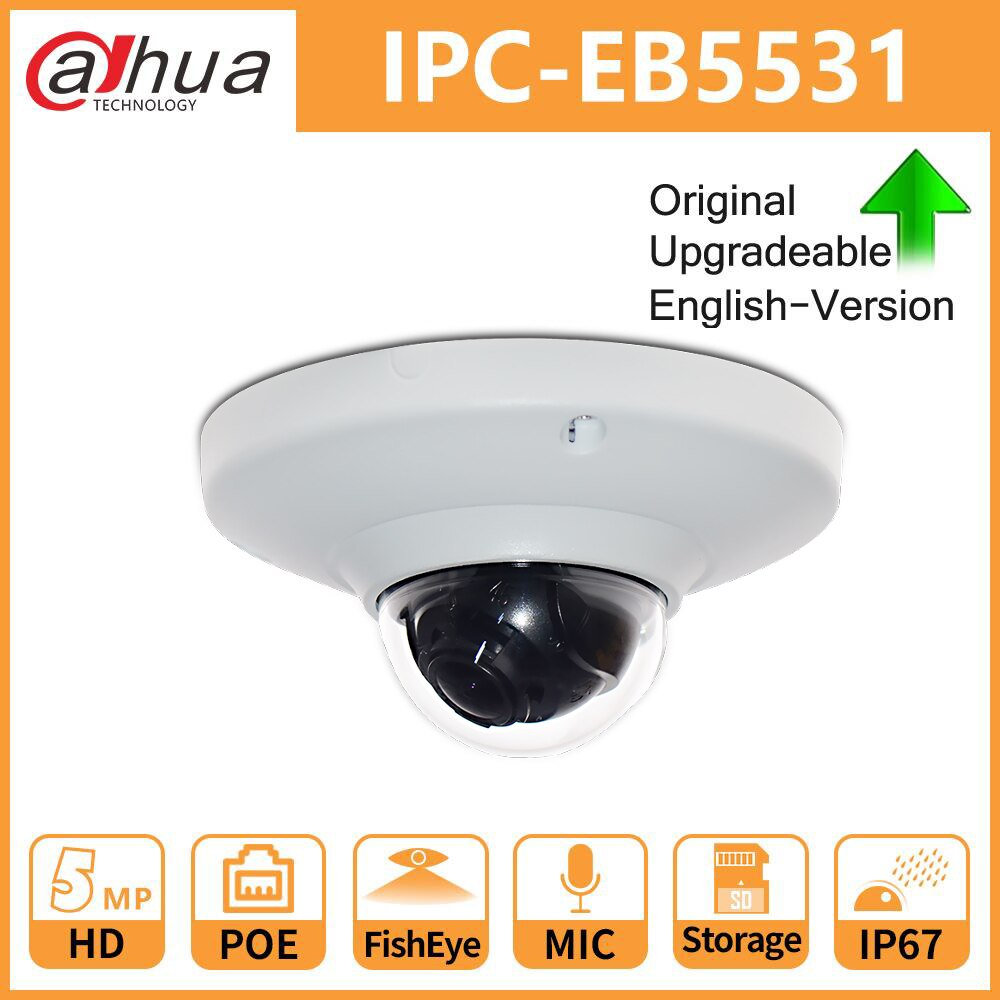 Dahua original Panoramic Network IP Camera 5MP IPC-EB5531 1.4mm Built-in Mic CCTV camera Fisheye H.265/H.264 3DNR IP67 PoE dahua ip camera ipc hdw4433c a 4mp network ip camera onvif built in mic poe 4433c a 4431c a home security cctv h 265 ipc camera