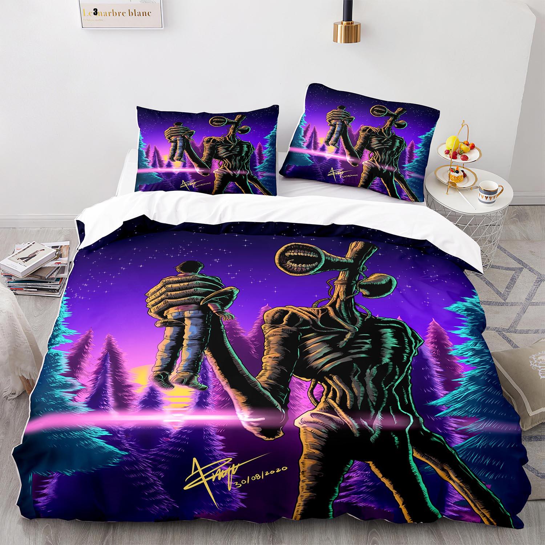 صفارة الإنذار طقم سرير رئيس واحد التوأم كامل الملكة الملك الحجم Siren رئيس طقم سرير للأطفال غرفة نوم Duvetcover مجموعات ثلاثية الأبعاد طباعة 001