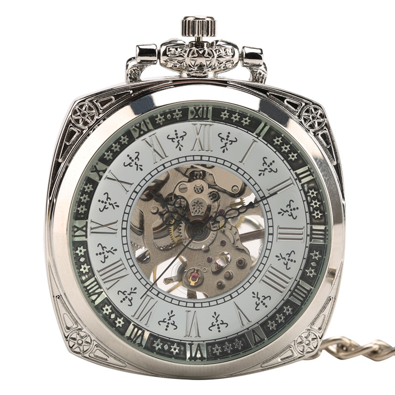 Silver Retro Men Women Handwind Mechanical Pocket Watch Skeleton Clock Pendant Chain FOB Watches Roman Numeral Open Face Reloj
