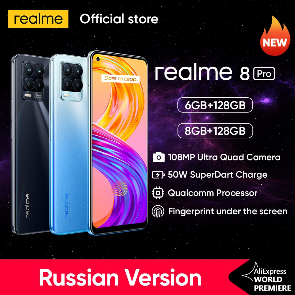 [World Premiere In Stock]realme 8 Pro 108MP Camera Global Version Snapdragon 720G Smartphone 6.4'' AMOLED 50W Super Dart Charge