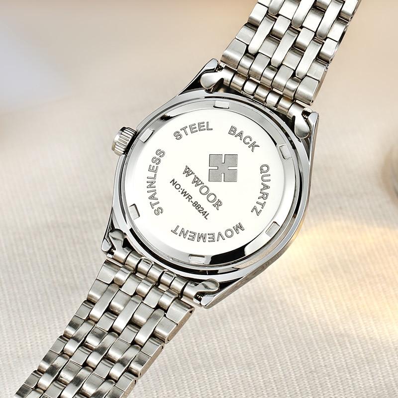WWOOR Brand Women Watch Date Clock Stainless Steel Watch Ladies Gift Fashion Casual Dress Female Quartz Watches Relogio Feminino enlarge