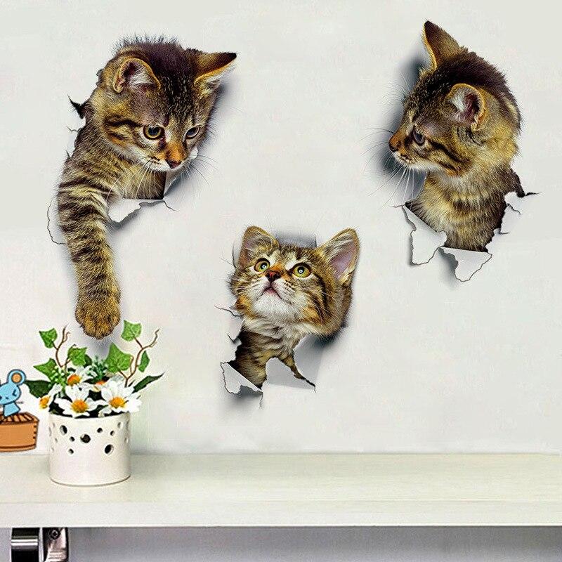 Novo 3d diy gato quebrado adesivo de parede decalque porta banheiro decoração arte cartaz mural à prova dwaterproof água família não-tóxico papel de parede