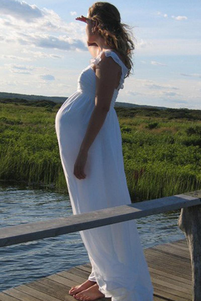 Vestidos de boda de maternidad románticos, Vestido largo de tirantes finos de...