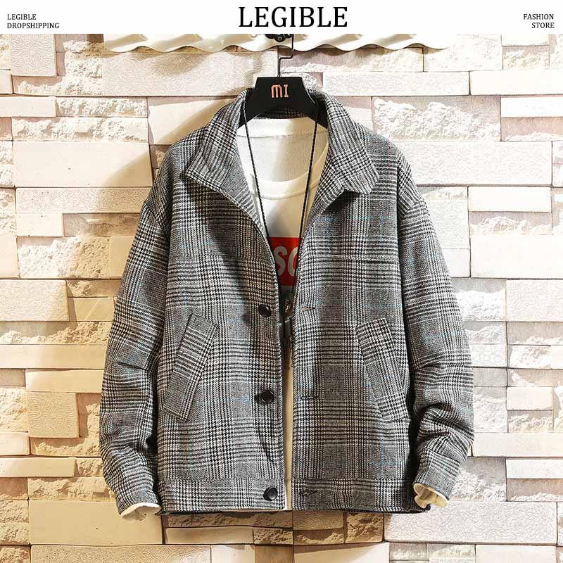 LEGIBLE-abrigo de lana de cuadros para hombre y abrigo de invierno... chaquetas...