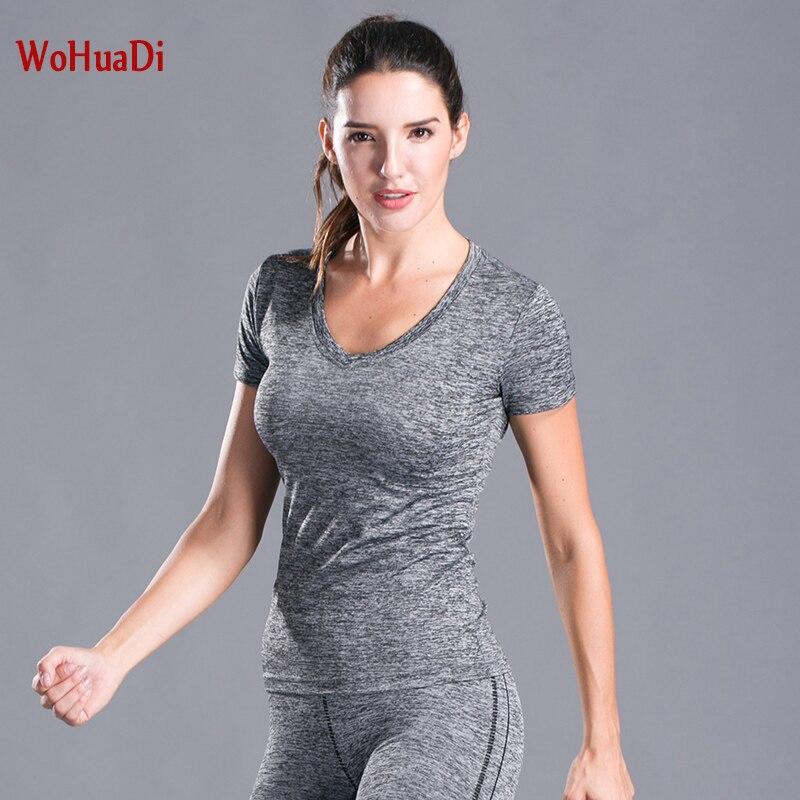 Camiseta WOHUADI de talla grande XXL de manga corta para yoga para mujer, ropa de entrenamiento de secado rápido, top informal con cuello en V ajustado en 8 colores