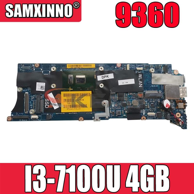 Akemy العلامة التجارية الجديدة I3-7100U 4GB لديل XPS 9360 اللوحة الأم للكمبيوتر المحمول LA-D841P CN-0J54PM J54PM اللوحة الرئيسية 100% اختبارها