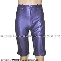 pearl purple sexy latex boxer shorts with front zipper and pockets rubber boyshorts underpants underwear dk 0189