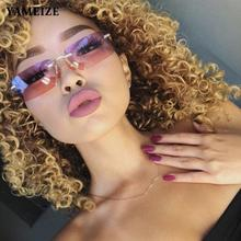 YAMEIZE Small Rectangle Sunglasses Women Square Rimless Sun Glasses Ins Style Cool Glasses Female Ey