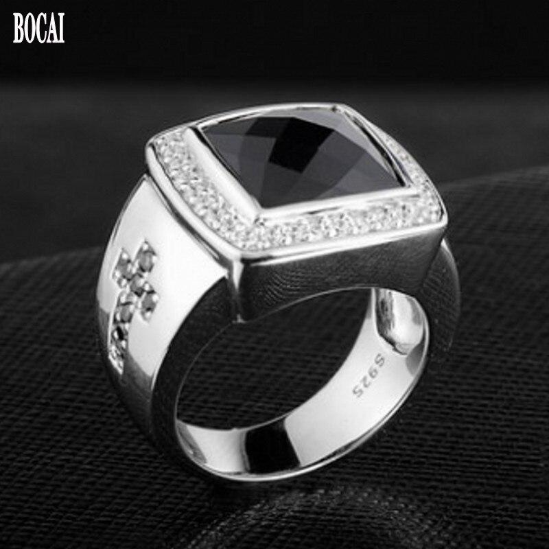 الطبيعي العقيق الأسود الدائري للرجال s925 الفضة الأزياء والمجوهرات شخصية واحدة مؤشر البنصر الاستبداد الصليب رجل خواتم