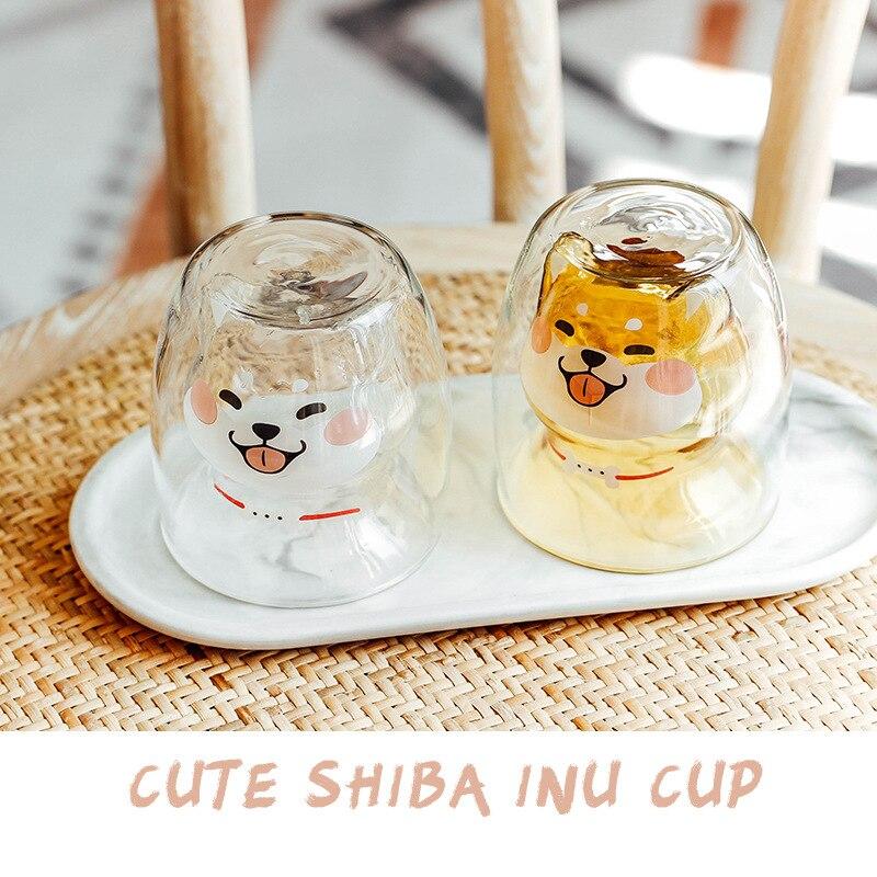 Taza de café taza de doble vidrio de jugo de leche teaTaza...