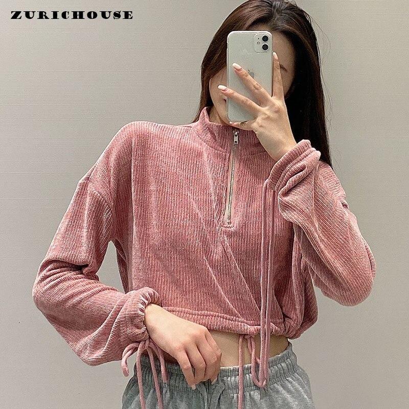 Весенний Свитшот ZURICHOUSE 2021, женская модная розовая укороченная кофта на молнии с воротником-стойкой, повседневный вязаный пуловер с длинным ...