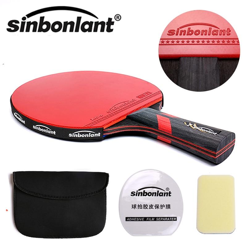 Raquette de Tennis manche long manche court lame en carbone caoutchouc avec picots double face dans les raquettes de ping-pong avec étui