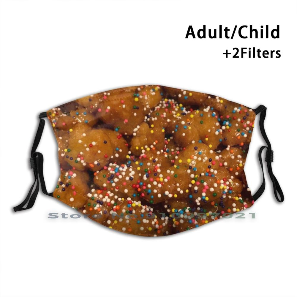Pastry With Sprinkles Dustproof Non - Disposable Mouth Face Mask Pm2.5 Filters For Child Adult Pastry Sprinkles Dessert Jimmies