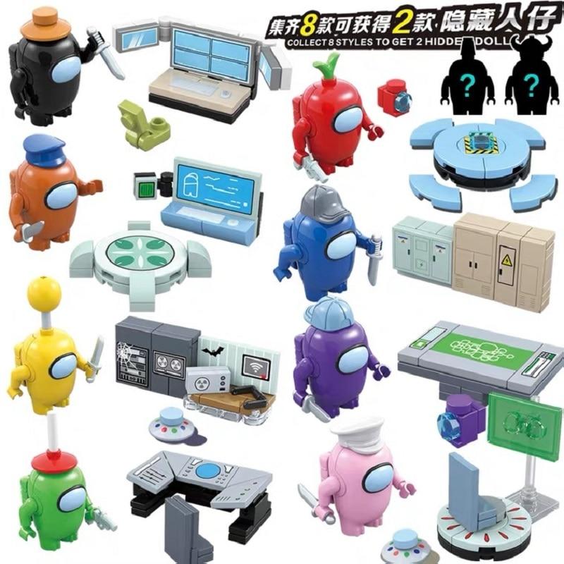 8pcs/set Among Us steam game block cartoon Action Character Cartoon Child Figure Anime Model Birthday