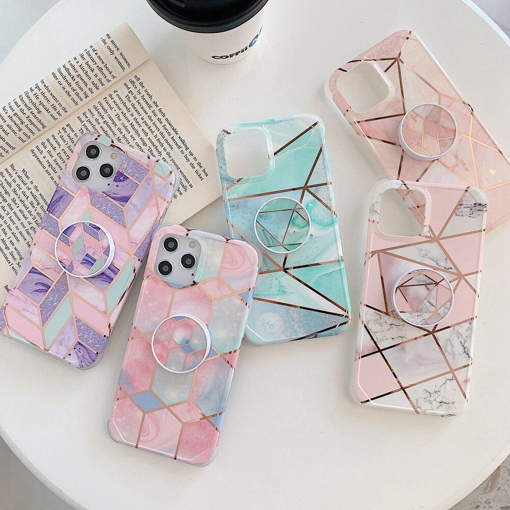 Carcasa de teléfono de lujo de geometría para iPhone Marble 11 Pro Max Luxury 6s 7 8 Plus, carcasa trasera imprimible con soporte XR 10 Funda