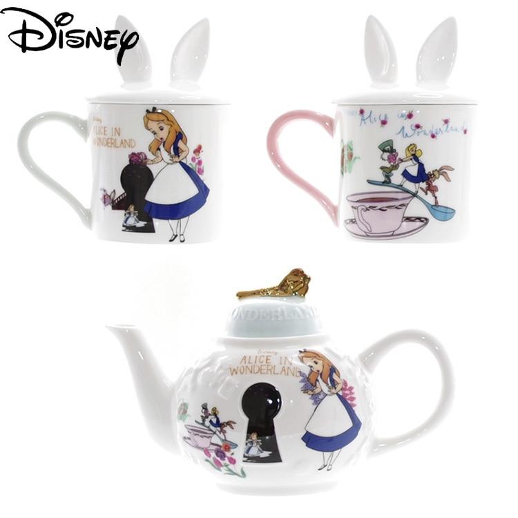 Disney Ceramic Tea Cup Cartoon Alice In Wonderland Afternoon Tea Gold Embossed Couple Cup with Lid Ceramic Teapot