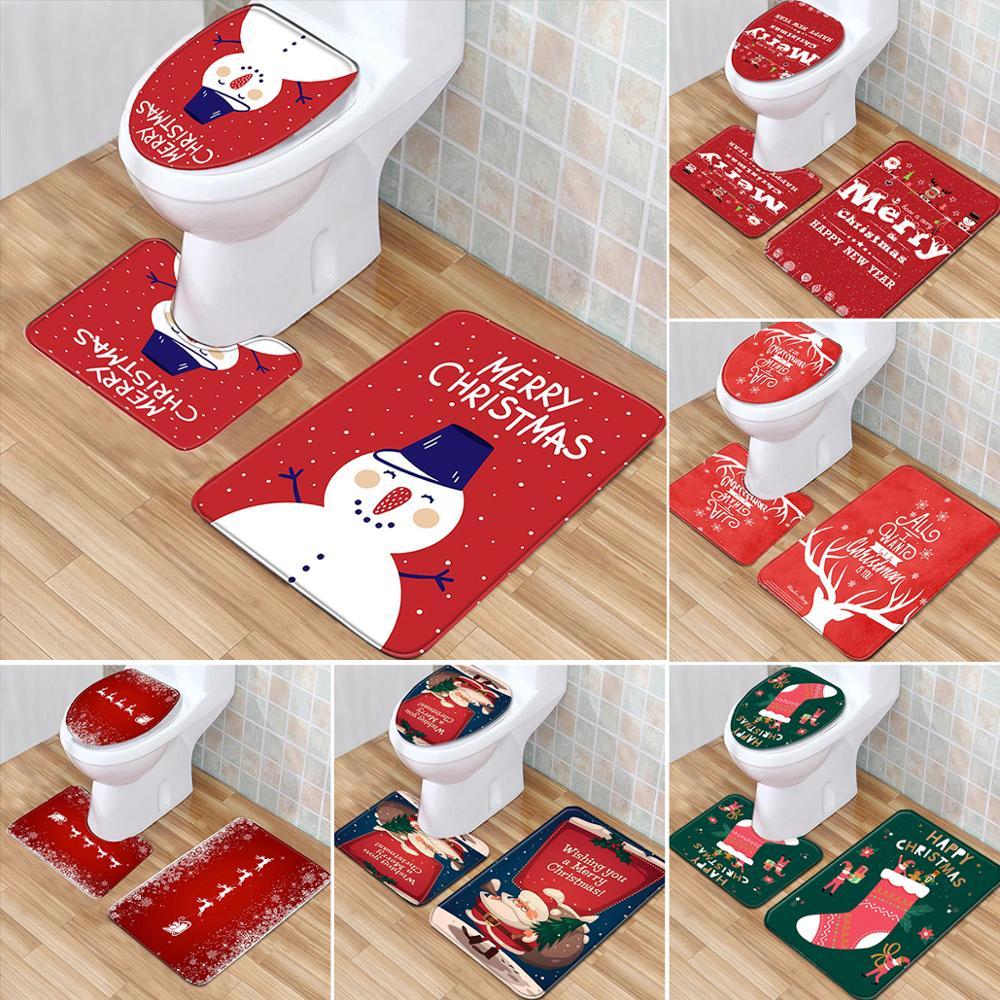 Adornos navideños para el hogar Navidad Natal Navidad 2020 adornos navideños cubierta de baño de Papá Noel decoración del hogar