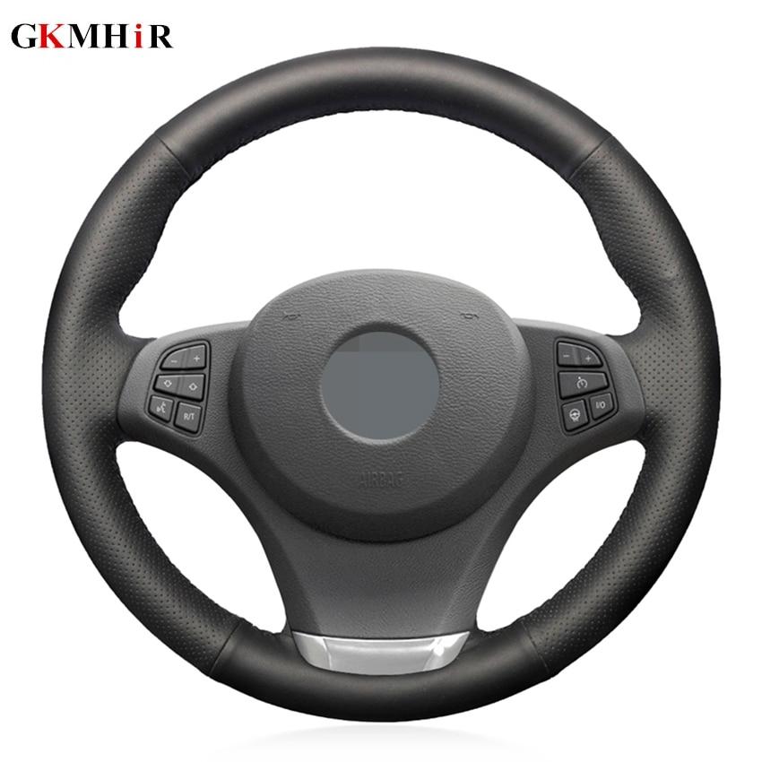 Funda de volante de coche cosida a mano de cuero genuino negro para BMW E83 X3 2003-2010X5 E53 2003-2006