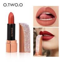 O.TWO.O Matte Lipstick Set 12 Colors Moisture Lips Makeup Diamond Lipstick Tube Waterproof Long Lasting  Nude Lipstick Matte