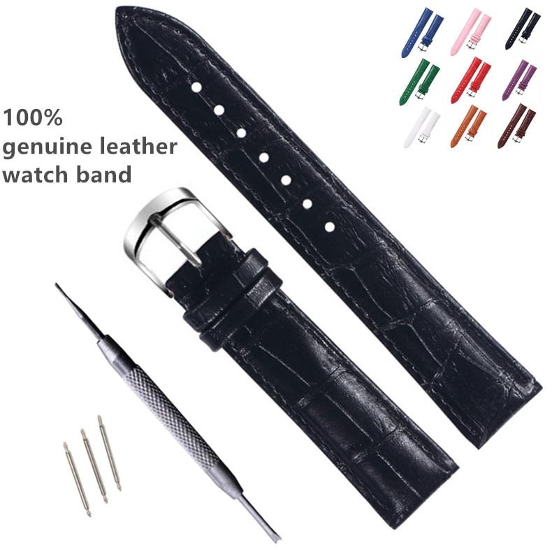 AliExpress - Genuine Leather Watchbands 12/14/15/16/17/18/19/20/21/22mm Watch Steel buckle Band Strap High Quality Wrist Belt Bracelet + Tool