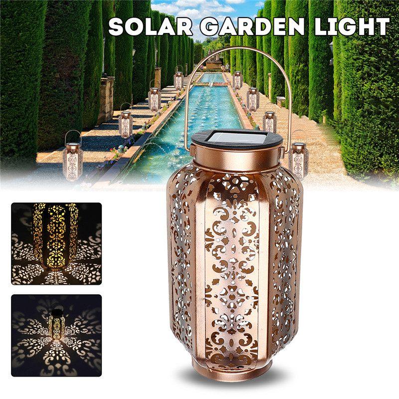 Smuxi luz Solar de jardín Led linterna de Metal Vintage luz LED paisaje de exterior lámpara de patio blanco cálido