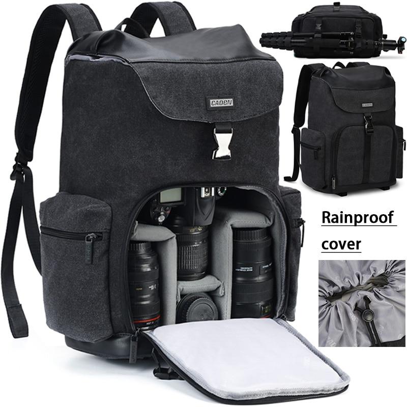 CADeN كاميرا ظهره قماش كاميرا مقاومة للماء حقيبة في الهواء الطلق مقاومة للاهتراء كبيرة التصوير حقيبة لنيكون كانون سوني DSLR
