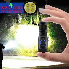 Höchste lumen mächtigsten led-taschenlampe mini taschenlampe usb cree 4 * XPG LED taktische wasserdichte wiederaufladbare 18350/18650 batterie
