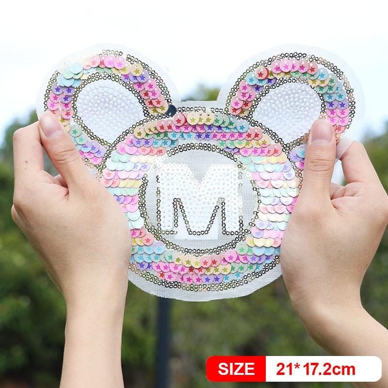 Parche de lentejuelas con diseño de ratón bonito para niños, parches de planchado para ropa para mujeres, chaqueta para niños, camisa, Polo, gorra, Jeans, aplique decorativo