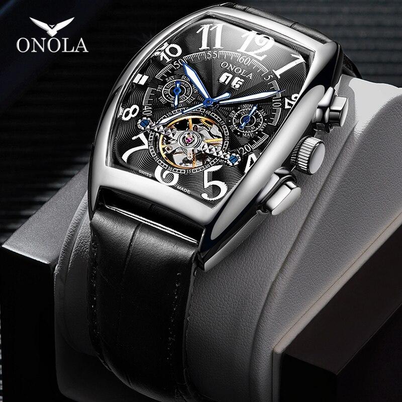 Relógio de Negócios Relógio de Presente Caixa de Moda Relógio Mecânico Automático Masculino Simples Retro Cinto High-end Esportivo 2021onola