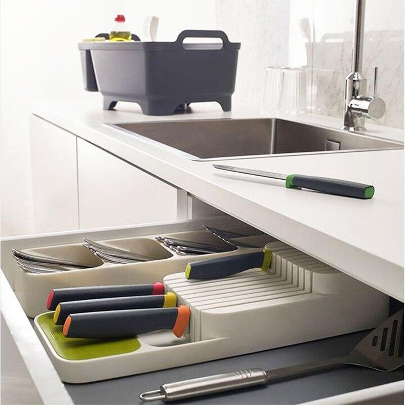 Кухонный лоток для хранения столовых приборов, кухонный держатель для ножей, органайзер, Кухонный Контейнер, хранилище для ложки, вилки, разделительный держатель для ножей-2