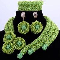 dudo store nigerian wedding jewellery set green african bridal jewelry necklace bracelet earrings handmade flower set