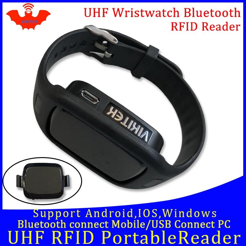 Lector de bolsillo UHF RFID portátil mini reloj lector bluetooth conectar teléfono móvil fácil uso pequeño usb android chip escritor Copiadora