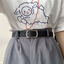 Korean All-Hole Women's Fashion All-Match Decorative Simple Student Jeans Belt Men's Punch-Free Ins