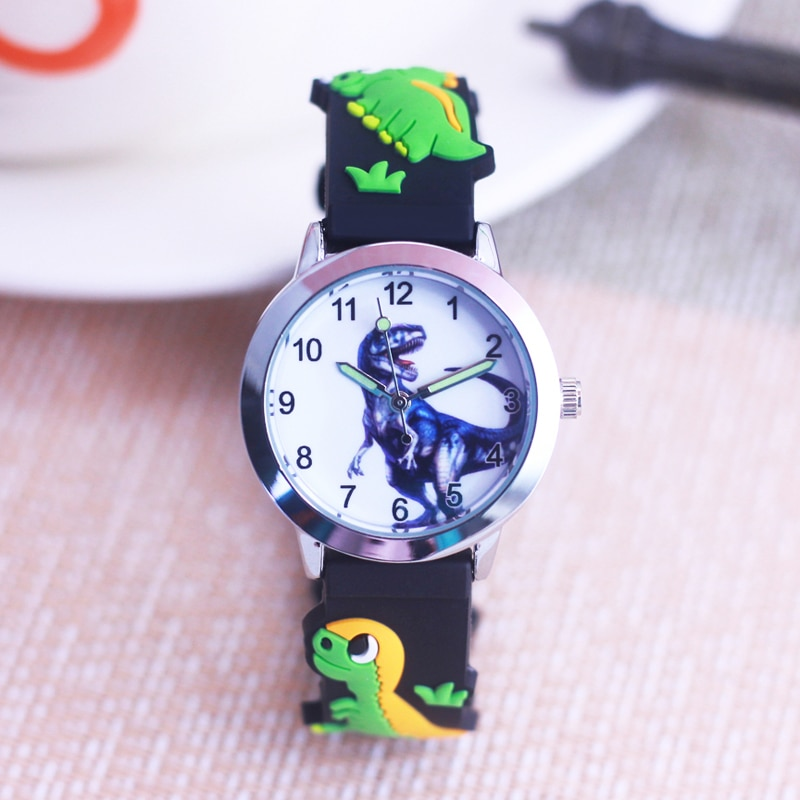 New Arrival High Quality Rubber Dinosaurs 3D Cartoon Boys Girls Students Gift Children Kids Watch Re