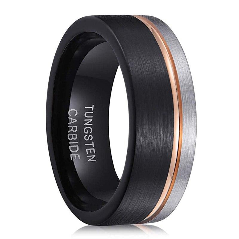 Anillo de compromiso para hombre y mujer de Anillos de Carburo de Tungsteno, anillo de compromiso de 8mm, ajuste cómodo, línea de oro rosa negro con Color plateado