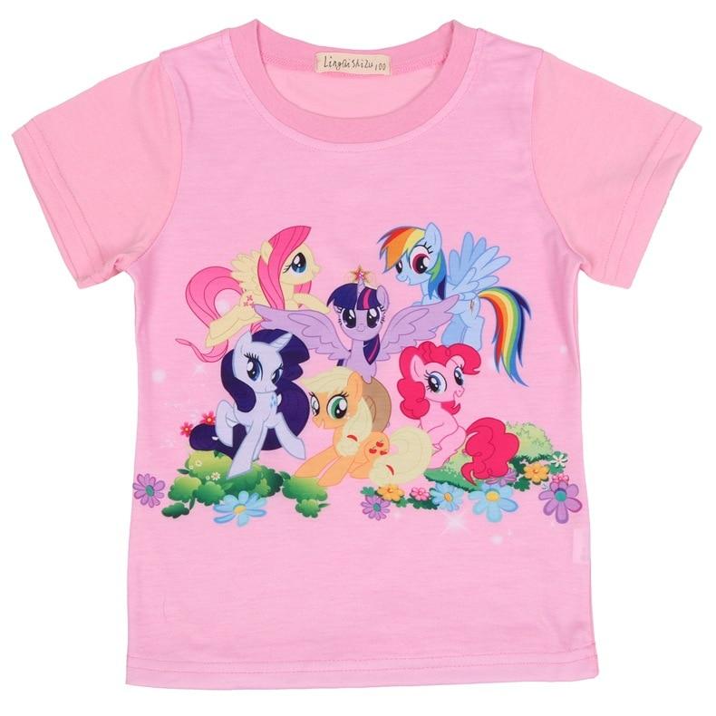 Nuevo verano Rosa rojo niños camiseta mi lindo bebé niñas Camisetas Niña pony ropa de los niños camiseta fiesta disfraces Tee Top