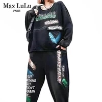 max lulu 2021 womens two pieces sets punk leopard tops and elastic harem pants fashion gothic outfits ladies patchwork tracksuit